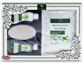Foot Care Pedicure Gift Set - Foot Spa Pamper Box | Mint and Lemon Foot Scrub, Foot Lotion, Foot Mask, Pumice Stone