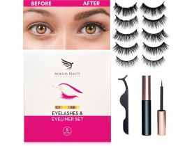 Magnetic Eyelashes & Eyeliner Kit - 5 Pairs