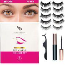 Magnetic Eyelashes & Eyeliner Kit - 5 Pairs