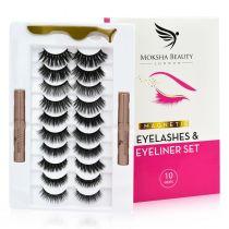Magnetic Eyelashes & Eyeliner Kit - 10 Pairs